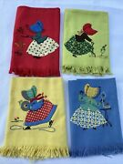 Hand Stitched Vintage Cannon Tea Kitchen Towels Lot Of 4 Red Yellow Blue Green