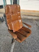 60and039s Mid Century Modern Homecrest Wire Lounge Arm Chair Eames Style Leather Mcm