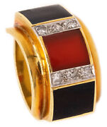 German 1970 Modernist Ring In 18 Kt Gold With Diamond Carnelian And Onyx Gorgeous