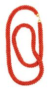 Modern Italian Necklace Sautoire In 18 Kt Yellow Gold With Sardinian Red Coral