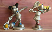 Disney Hudson Fine Pewter 2 Figurines Mickey And Minnie Mouse Playing Tennis