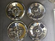 Vintage After Market Set Of 4 15andrdquo 4 Bar Spinner Hubcaps 1950and039s 1960and039s Period