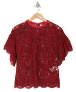 Valentino Auth Butterfly Embroidery Blouse Red Lace Silk Blend Short Sleeve 42 S