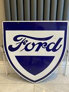 Vintage Ford Enamel Shield Sign .. Great Condition 1930s-50s
