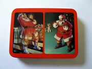 Vintage Old Coca Cola Nostalgia 1993 Christmas Playing Cards In Tin Santa Clause