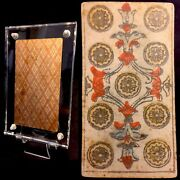 1818 Historic Antique Tarot Playing Cards Nine Of Pentacles Coins Italian Single