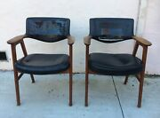 Two Vintage Danish Mid Century Modern Chairs By Eric Kirkegaard Arm Chairs, Used
