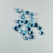 Awesome Natural Blue Topaz Gemstone Faceted Cut 4x4mm Square Shape Blue Gemstone