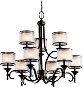 Kichler 42382miz, Lacey Candle Chandelier Lighting With Shades, 9 Light, 540