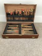 Vintage Wooden Float And Tackle Box With 40 Vintage Floats