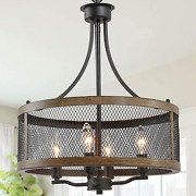 Laluz Farmhouse Chandelier Dining Room Light Fixture Drum Chandeliers Oil And