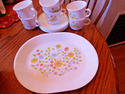 Corelle Spring Meadow 10 X 12 1/4 Oval Platter And 6 Cups And Saucers Free Sh
