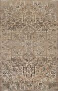 Antique Muted Distressed Hand-knotted Traditional Evenly Low Pile Area Rug 7x11