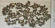 Syroco Large Wall Art 1960's Flowers Birds Faux Wood Carving 52 X 29 Mcm