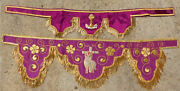 Altar Pieces With Gold Fringe And Gold Embroidery French Antique Monastery Work