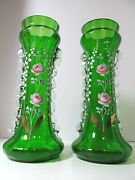 Antique Hand Painted Victorian Vases 2 Emerald Green Floral Decor 11 Art Vases