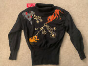 Nwt Escada Novelty Dog Sweater Wool Vintage Brand New With Tags 36 Gold Chain