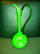 Carlo Moretti Murano Cased Dimpled Glass Green Pitcher With Clear Handle