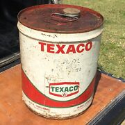 Vintage Texaco Gas Can Motor Oil 5 Gallon Fuel Empty Old Dirt By Man Cave