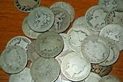 Lot Of 32 Barber Silver Quarters Many Dates Circulated  Free Us Shipping