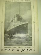 Rare White Star Line 1911 Passenger List Titanic Launched At Belfast May 31