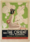 Original Vintage Poster See The Orient Southern Pacific Railroad Ship Travel Ol