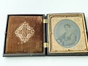 Antique Cased Ambrotype Portrait Of A Woman By George Rider Gutta-percha Case Ny