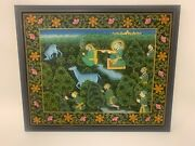 Indian Landscape Painting Mugal Style Princes And Deer