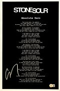 Corey Taylor Signed Stone Sour Absolute Zero 11x17 Song Lyric Poster Beckett Coa