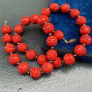 Vintage Chinese Carved Cinnabar Bead Beaded Necklace 22 1/2l