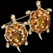 Coro Sterling Gold And Topaz Spangled Turtles Pin Clip Duette
