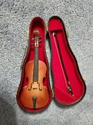 Miniature 6 1/2 Violin With Case And Bow Music Box