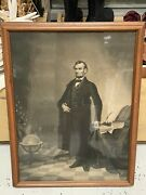 Antique Abraham Lincoln Engraving Etching Wood Framed With Glass