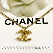 Necklace Chain Auth Coco Mark Logo Cc Studs Matte Gold Plating F/s Ch1