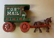 Used Vintage Cast Iron Us Mail Wagon 128 And Horse No Driver 4.7 Pounds 47