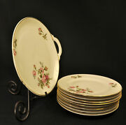 Johann Haviland Cakeplate And 8 Dessert Plates Pink Rose Of Picardy 1937-1970and039s