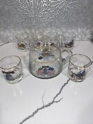 West Virginia Glass Bicentennial Beverage Set- Pitcher And 6 Glasses