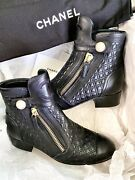 Quilted Leather Black Boots Size-36.5