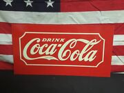 Rare 1930s Coca Cola Tin Metal Embossed Glascock Cooler Sign Old Store Stock