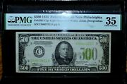 1934 500 Federal Reserve Note ✪ Pmg Vf-35 ✪ Fr 2201-c Lgs Very Fine ◢trusted◣