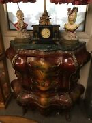 Antique French Bombe Chest Sunning Green Marble Top. Hand Painted Front.