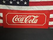 Rare 1930s Coca Cola Tin Metal Glascock Cooler Sign Old Store Stock Mint Cond.