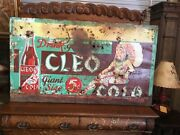 Ultra Super Rare 1930s Cleo Cola Huge Advertising Sign Metal With Wood Frame.
