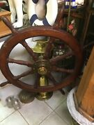 Super Rare Antique Ships Wheel And Brass Base. 100 Authentic 1900s Nautical.