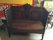 Antique Victorian 1880s Carved Entryway Oak Bench Hall Tree Stunning