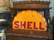 Rare. 1930s Shell Gasoline Clam Shell Double Sided Porcelain Sign 48 Inch.