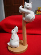 Fitz And Floyd Scared Cat Chased Up A Pole By Dog Salt And Pepper Shakers Japan
