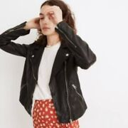 Nwt 498 Madewell Washed Leather Motorcycle Jacket Black Size Small Petite