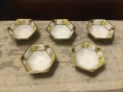 Lot Of Five Vintage Nippon Gilded Hand Painted Footed Open Cellars/salt Dips