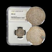 Great Britain. 1787, 6 Pence, Silver - Ngc Ms62 - No Semee Of Hearts